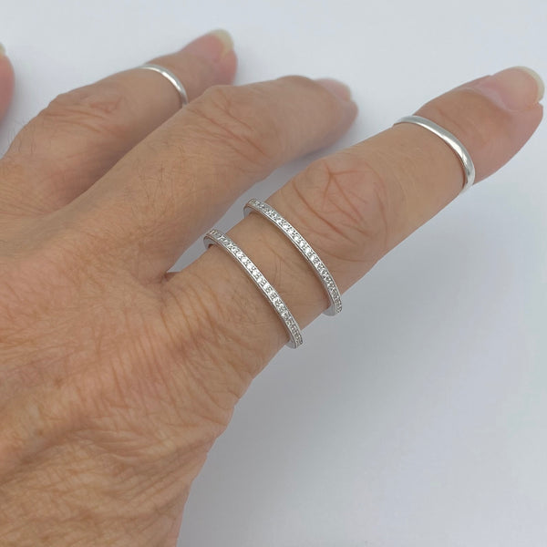 Sterling Silver Cuff CZ Band Ring, Bangle Ring, Boho Ring, CZ Ring