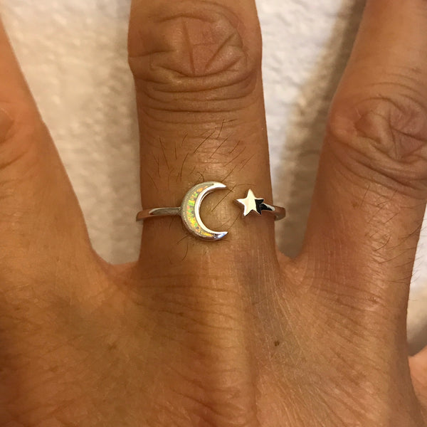 Sterling Silver White Lab Opal Moon and Star Ring, Silver Ring, Ring