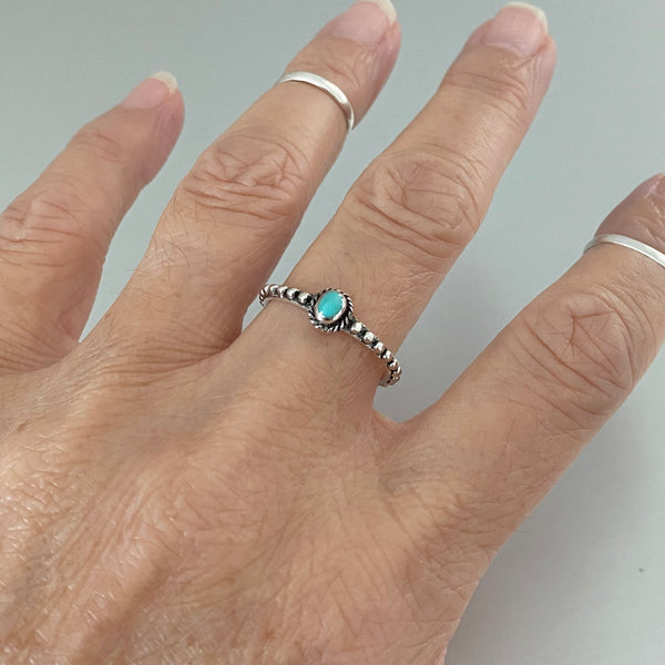 Sterling Silver Beaded and Turquoise Ring, Boho Ring, Silver Ring, Braided Ring
