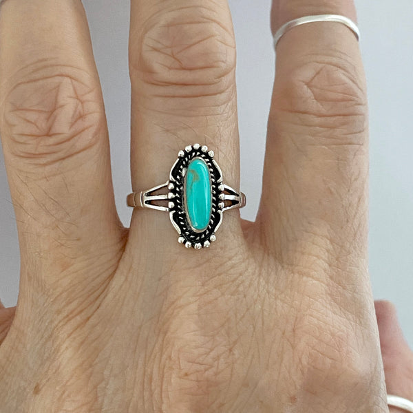 Sterling Silver Boho Turquoise Ring, Silver Ring, Stone Ring