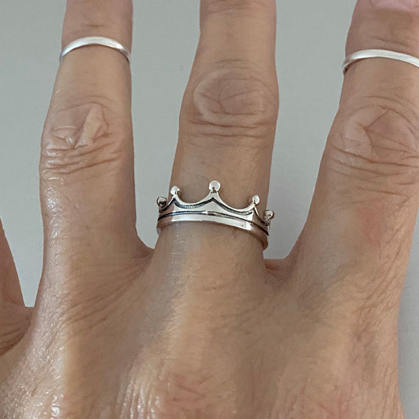 Sterling Silver Simple Crown Ring, Silver Crown, Silver Ring, Boho Ring, Princess Ring
