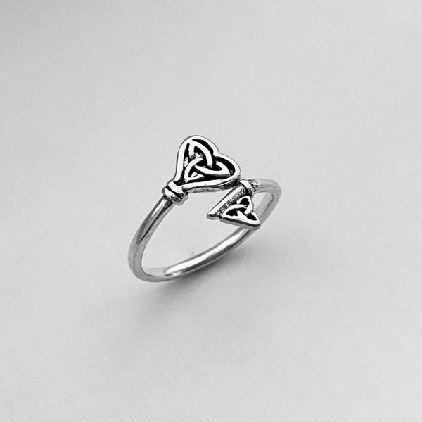 Sterling Silver Double Triquetra Key Ring, Silver Ring, Boho Ring, Celtic Knot Ring
