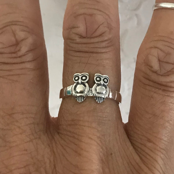 Sterling Silver Double Owls Ring, Silver Ring, Bird Ring