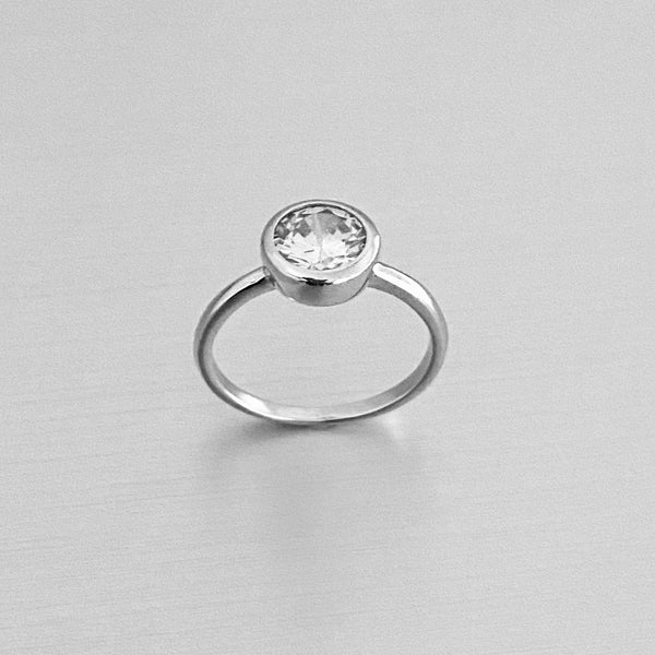 Sterling Silver Round CZ Ring, Silver Ring, Wedding Ring, Engagement Ring