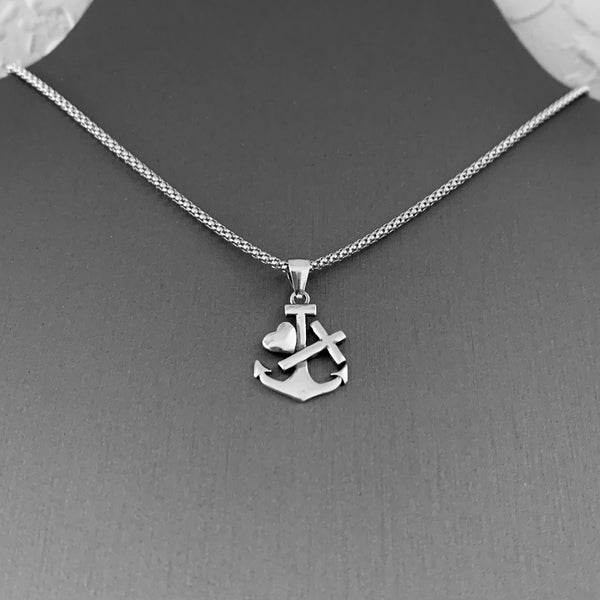 Sterling Silver Anchor Necklace, Religious Necklace, Silver Necklace, Cross Necklace