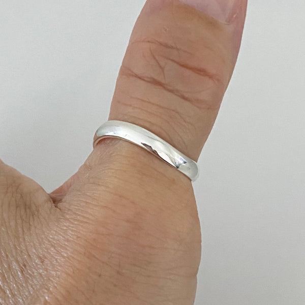 Sterling Silver Curve Thumb Ring, Silver Ring, Curve Ring, Stackable Ring