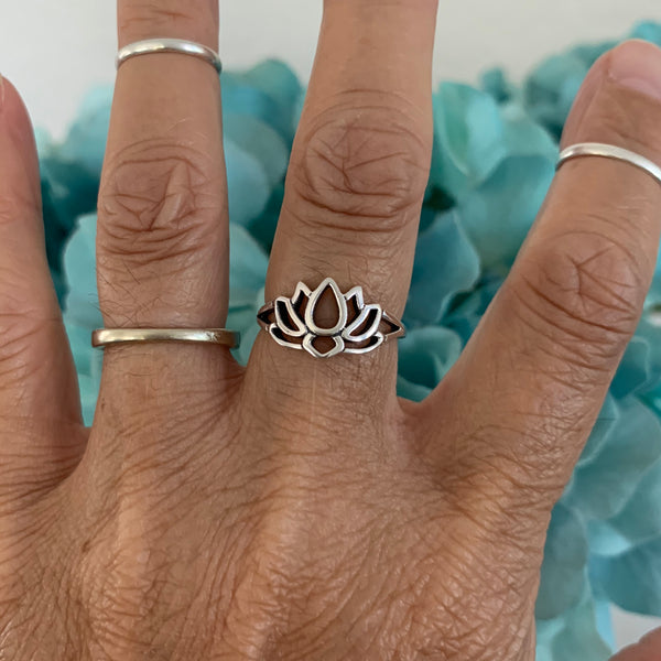 Sterling Silver Lotus Flower Ring, Lotus Ring, Yoga Ring, Silver Rings