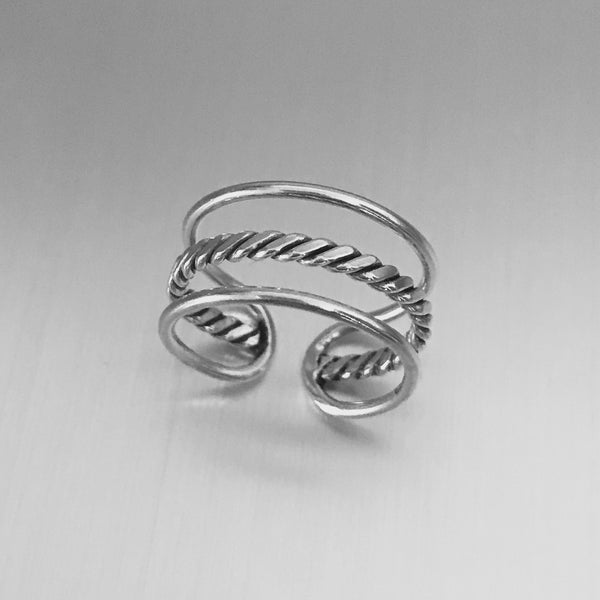 Sterling Silver Cuff Ring with Rope, Silver Ring, Boho Ring, Braid Ring