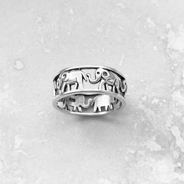Sterling Sterling Marching Elephant Ring, Silver Ring, Boho Ring, Good Luck Ring