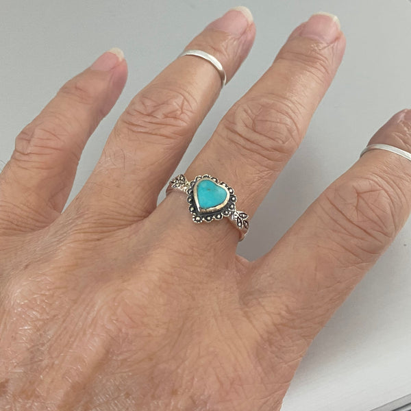 Sterling Silver Stabilized Turquoise Heart Ring, Heart Ring, Silver Rings, Boho Ring