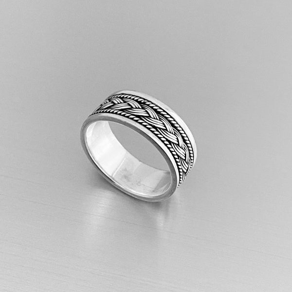 Sterling Silver Unisex Braided Band, Silver Ring, Wedding Ring, Silver Band