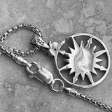 Sterling Silver Sun and Compass Necklace, Silver Necklace, Sun Necklace, Map Necklace