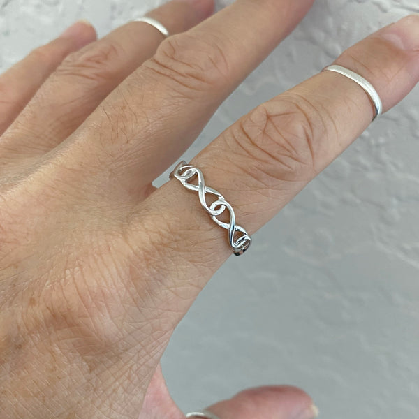 Sterling Silver Wraparound Infinity Ring, Silver Ring, Love Ring, Forever Ring