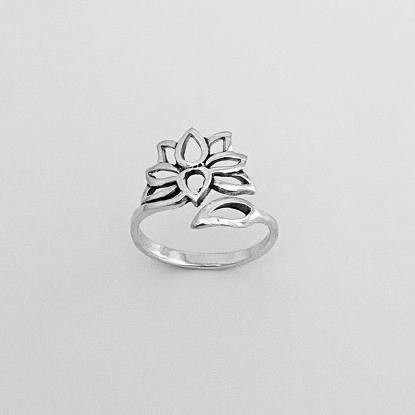 Sterling Silver Adjustable Lotus Flower Ring, Silver Ring, Boho Ring, Flower Ring