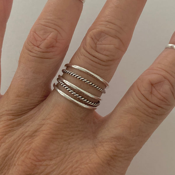 Sterling Silver 5 Band Rings, Silver Rings, Silver Bands, Statement Ring