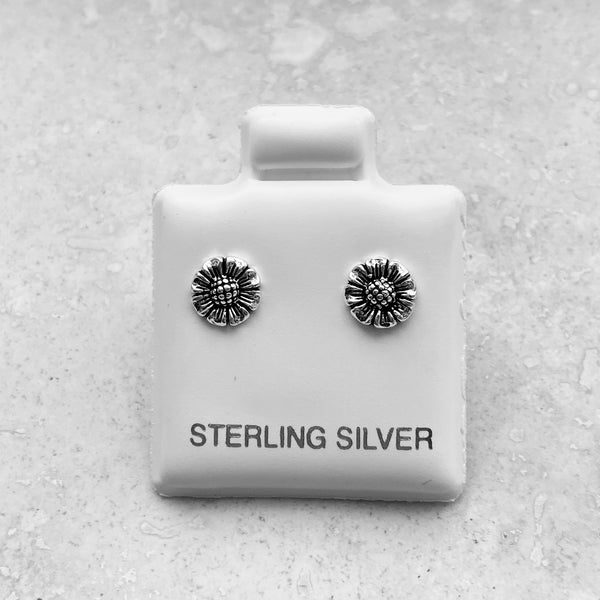 Sterling Silver Small Sunflower Earrings, Sun Earrings, Silver Earrings, Stud Earrings, Flower Earrings