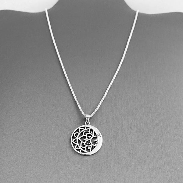 Sterling Silver Large Moon and Mandala Necklace, Silver Necklace, Flower Necklace, Moon Necklace, Boho Necklace