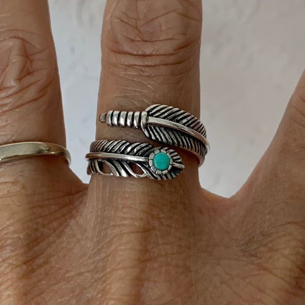 Sterling Silver Feather Ring with Synthetic Turquoise, Feather Ring, Silver Rings, Angels Wing