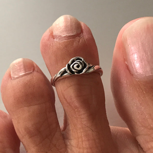 Sterling Silver Adjustable Rose Toe Ring
