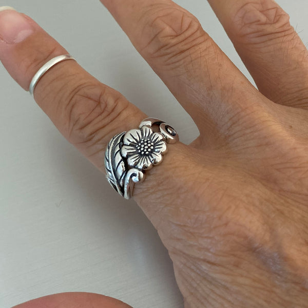 Sterling Silver Sunflower Ring, Flower Ring, Silver Ring, Leaf Ring, Statement Ring