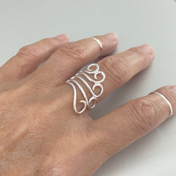 Sterling Silver Statement Swirl Wrap Ring, Boho Ring, Silver Ring, Swirly Ring