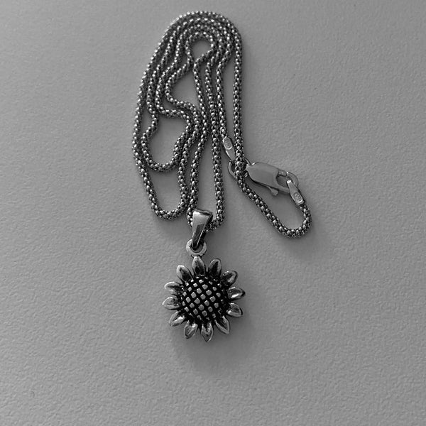 Sterling Silver Sunflower Necklace, Silver Necklace, Flower Necklace, Sun Ring