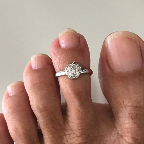 Sterling Silver Apple Toe Ring W/ CZ, Midi Ring