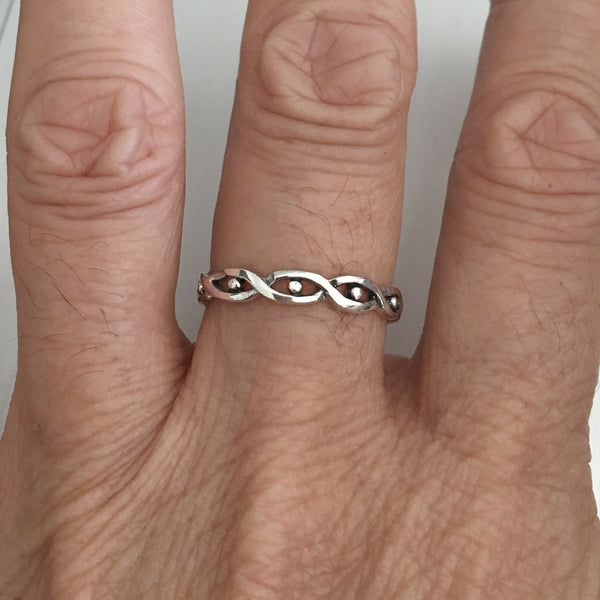 Sterling Silver Weave and Dots Ring, Silver Ring, Weave Ring