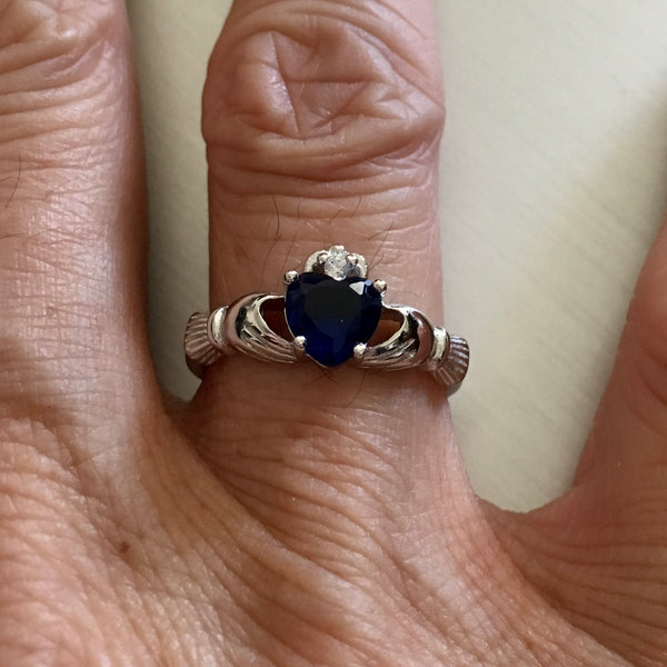 September Birthstone Sterling Silver Claddagh Blue Sapphire CZ Heart Ring