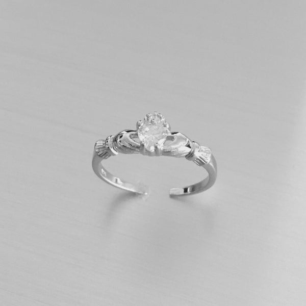 April Birthstone Sterling Silver Claddagh CZ Heart Toe Ring