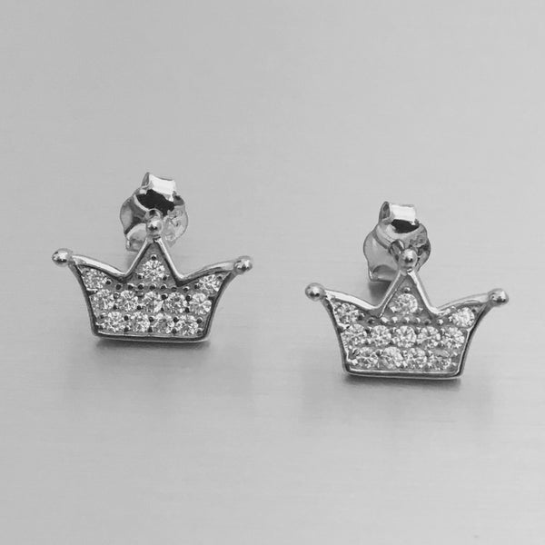 Sterling Silver CZ Crown Stud Earrings