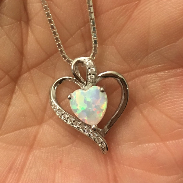 Sterling Silver Necklace with White Lab Opal and Clear CZ Heart Pendant