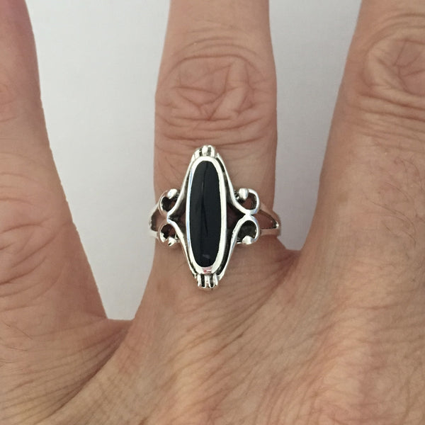 Sterling Silver Black Onyx Ring, Silver Rings, Statement Ring