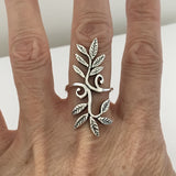 Sterling Silver Swirly Leaves Statement Ring