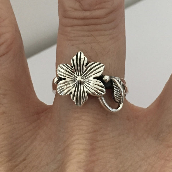 Sterling Silver Plumeria Flower with Leaf Ring, Silver Ring, Rings