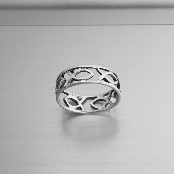 Sterling Silver Icthus Wide Band Ring