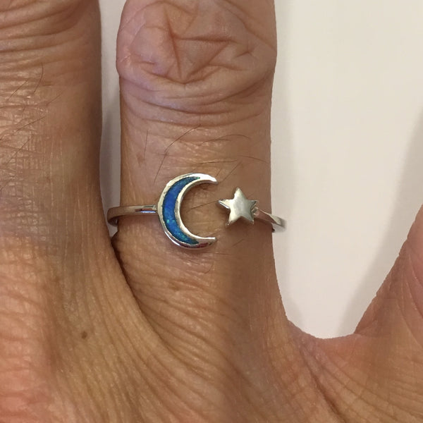 Sterling Silver Blue Lab Opal Moon and Star Ring, Silver Ring, Moon Ring, Boho Ring