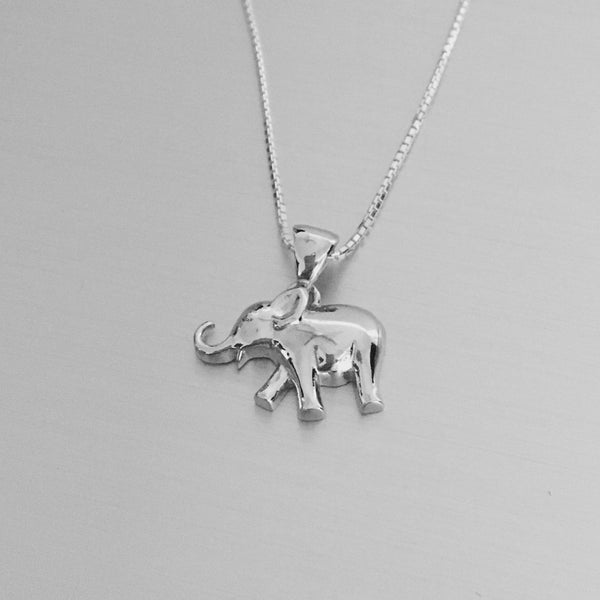 Sterling Silver Elephant Pendant with Italian Box Chain Necklace