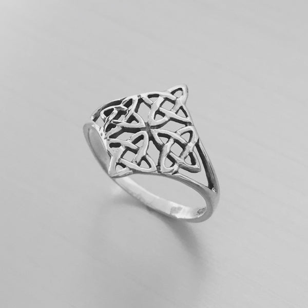 Sterling Silver Celtic Quadruple Knot Ring, Boho Ring, Celtic Ring, Silver Ring