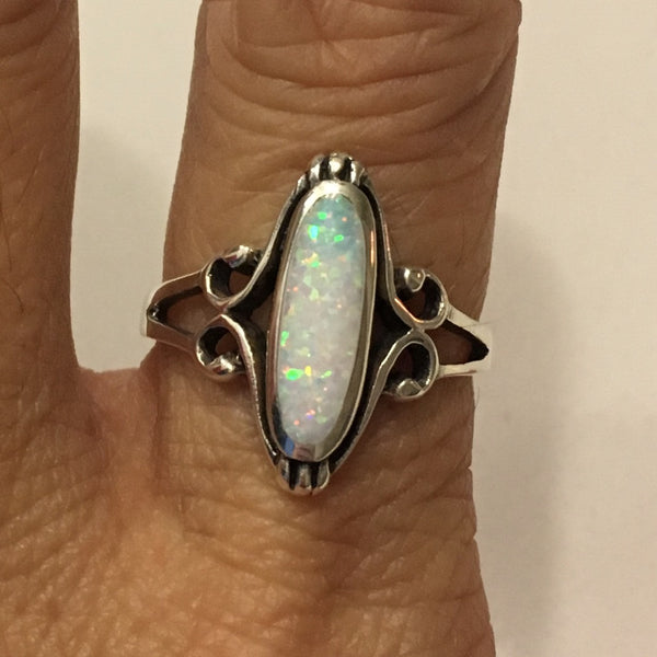 Sterling Silver Oval White Lab Opal Ring