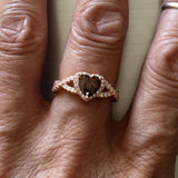Rose Gold Plated Sterling Silver Coffee Colored CZ Heart Ring, CZ Ring, Love Ring, Promise Ring