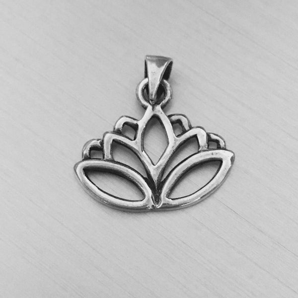 Sterling Silver Lotus Flower Pendant, Yoga Jewelry
