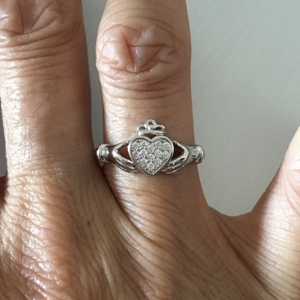 Sterling Silver CZ Heart Claddagh Ring, Silver Ring, Irish Ring, CZ Ring, Friendship Ring