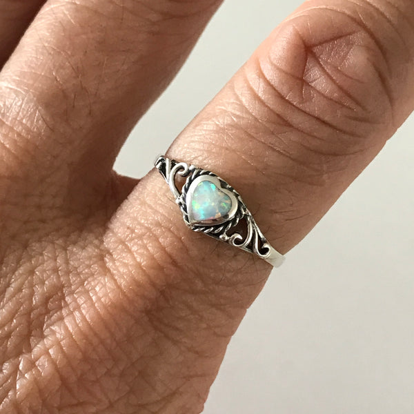 Sterling Silver White Lab Opal Heart Ring, Silver Ring, Opal Ring