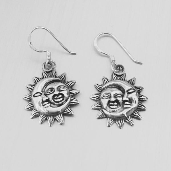Sterling Silver Sun and Moon Earrings