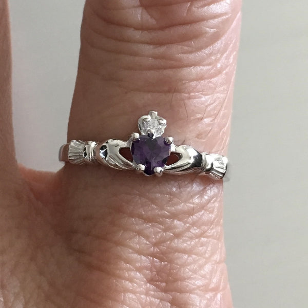 Sterling Silver Small Claddagh with Amethyst CZ Heart Ring