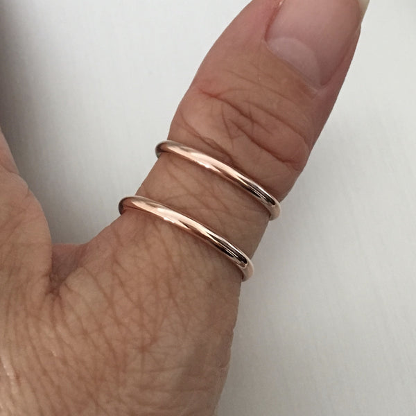 Rose Gold Plated Sterling Silver One 2MM Band Ring, Silver Ring, Silver Band, Rose Gold Band