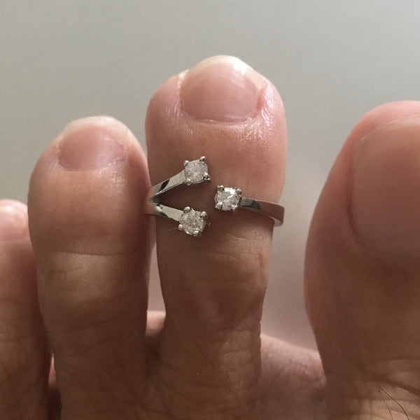 Sterling Silver Toe Ring With Clear CZ