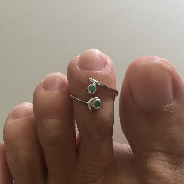 Sterling Silver Toe Ring With Emerald CZ, Silver Ring, Rings