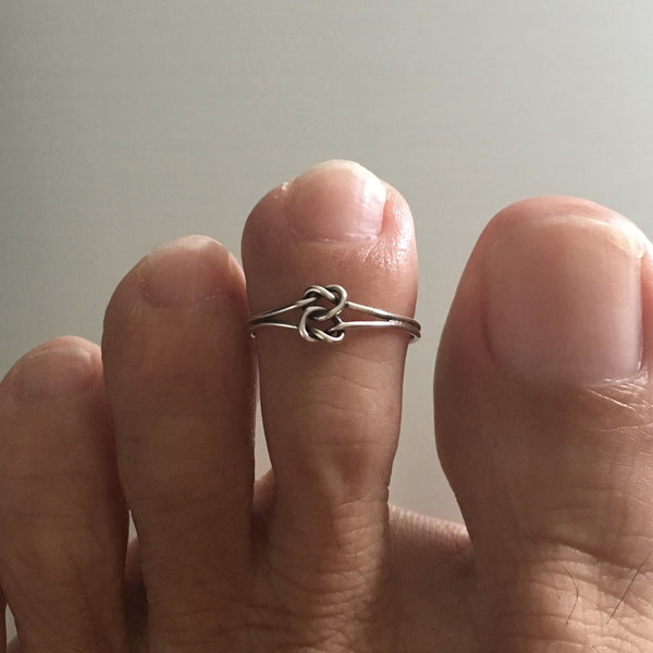 Sterling Silver Adjustable Knot Toe Ring, Silver Ring, Rings